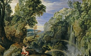 Picture rocks, waterfall, picture, Peter Paul Rubens, mythology, Landscape with psyche and Jupiter, Pieter Paul Rubens