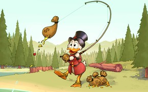 Wallpaper forest, gold, fishing, coins, Disney, rod, Scrooge McDuck, Duck Tales