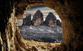 Picture mountains, rocks, Italy, cave, the grotto, The Dolomites