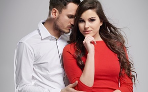 Picture look, girl, love, passion, hair, desire, dress, shirt, guy, beautiful, lovers, passion, embrace, hand