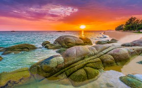 Picture sea, wave, beach, summer, the sky, sunset, stones, shore, summer, beach, sky, sea, sunset, seascape, …