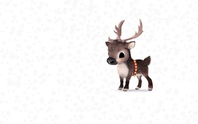 Wallpaper winter, snow, new year, deer, art, children's