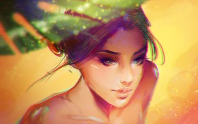 Picture sand, face, umbrella, sponge, shoulders, art, on the beach, sunlight, portrait of a girl, Partaytoes