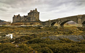 Picture bridge, castle, Scotland, Eilean Donan