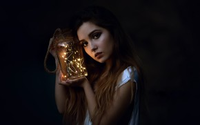 Picture girl, portrait, Bank, Laulight