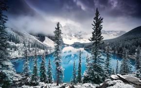 Wallpaper clouds, Canada, Albert, lake, Banff national Park, Nature, trees, snow, fog, winter, mountains, moraine lake, ...