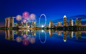 Wallpaper night, lights, reflection, lighting, Bay, Singapore, night city, The city-state