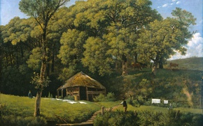 Picture landscape, oil, picture, canvas, Wouter Johannes van Troostwijk, Farm on the Banks of the Stream …