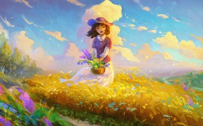 Picture field, the sky, clouds, flowers, smile, mood, the wind, hat, art, girl, basket