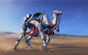 Wallpaper Jacob Bazyluk, camel, W.A.R.P. Sand Walker, art, illustrator, fiction
