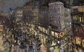 Picture night, lights, picture, the urban landscape, Konstantin Korovin, The Boulevard Des Capucines