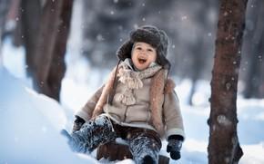 Picture snow, joy, hat, laughter, boy