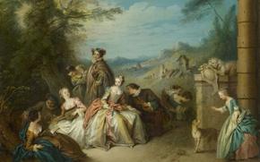 Picture people, Father Jean-Baptiste, Gallant Company in a Landscape, oil, picture, canvas