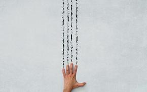 Wallpaper wall, hand, trail