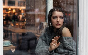 Picture girl, rain, long hair, photo, blue eyes, model, mood, water drops, bokeh, window, lips, jeans, ...