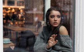Wallpaper girl, rain, long hair, photo, blue eyes, model, mood, water drops, bokeh, window, lips, jeans, ...