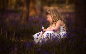 Picture flowers, mood, butterfly, girl, bells, bokeh