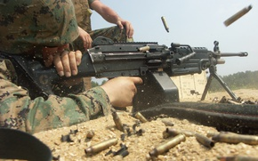 Wallpaper USMC, soldier, light machine gun, M249 SAW