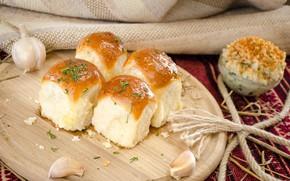 Picture greens, garlic, buns, dumplings