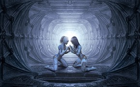 Wallpaper artificial intelligence, cyborgs, fiction, tattoo, girls, people, people, the futuristic, background, the tunnel, grey, light, ...