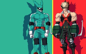 Wallpaper anime, red, My Hero Academia, hero, grenade, powerful, enemy, Boku no Hero Academy, rabbit, green, ...