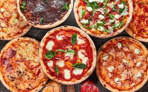 Picture cheese, pizza, tomatoes, cuts, Basil, toppings
