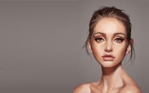Picture girl, portrait, art, Victor Lozada, A beautiful face