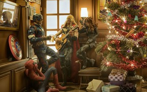 Picture fun, tree, super heroes, a merry little christmas, Christmas