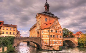 Picture clouds, trees, river, home, Germany, Bayern, bridges, Bamberg