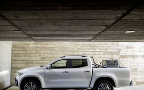 Picture white, wall, Mercedes-Benz, garage, the ceiling, plate, pickup, cargo, 2017, X-Class