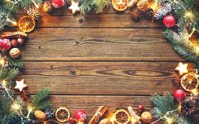 Wallpaper Christmas, New year, orange, star anise, garland, tree, spruce branches, walnuts, cinnamon sticks, cookies, bumps, ...