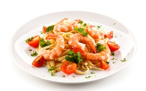 Picture Plate, Tomatoes, Food, Pasta, Shrimp, Main Dishes