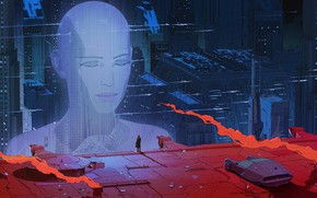 Wallpaper head, sci-fi, future, buildings, fantasy art, hologram, skyscrapers, digital art, Blade Runner 2049, machine, science ...