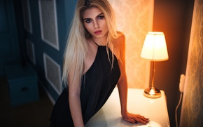 Picture light, table, lamp, portrait, makeup, dress, hairstyle, blonde, beauty, in black