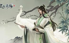 Picture the game, art, peacock, guy, fantasy, Lingshan Qi Yuan