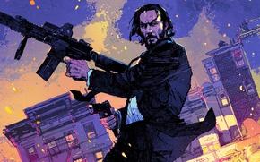 Wallpaper city, cinema, gun, pistol, weapon, night, man, movie, film, rifle, Keanu Reeves, powerful, strong, John ...