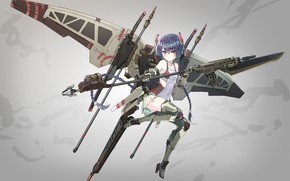 Picture girl, gun, mecha, weapon, anime, blade, rifle, suit, japanese, spear, seifuku