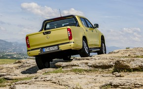 Picture the sky, clouds, mountains, yellow, rocks, vegetation, Mercedes-Benz, pickup, feed, 2017, X-Class