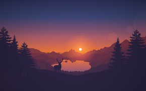 Picture Sunset, The sun, The evening, Mountains, The game, Lake, Forest, View, Hills, Deer, Landscape, Art, ...