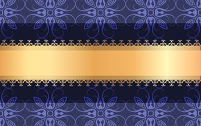Picture violet, ornament, gold ribbon, pattern, vector, flowers