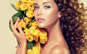 Picture look, girl, face, model, hair, bouquet, yellow, hands, makeup, tulips, curls, blue eyes, Sofia Zhuravets'