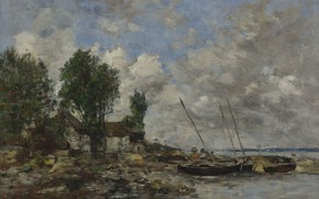 Picture clouds, landscape, house, boat, picture, Eugene Boudin, Eugene Boudin, River in Plougastel