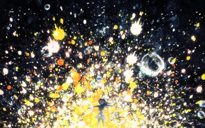 Picture girl, bubbles, Y_Y, colorful splashes