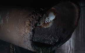 Picture clown, Stephen King, killer, evil, terror, bad, I.T., pipe, IT, Pennywise Finn, Wolfhard, fear, man