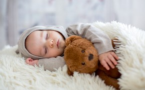 Picture sleep, boy, baby, bear, bed, blanket