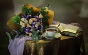 Picture winter, flowers, tea, roses, bouquet, still life, irises, porcelain, January