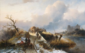 Wallpaper landscape, The return from the Hunt, oil, Charles Rochussen, canvas, picture