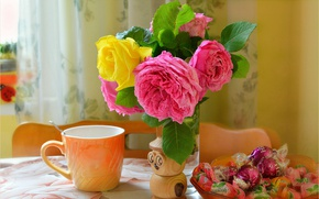 Picture Candy, mug, Roses, Cup, Roses
