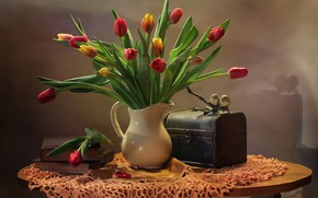 Picture vase, flowers, table, books, tulips, chest, birds, still life, tablecloth