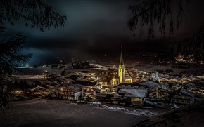 Picture lights, winter, night, Austria, Church, Ellmau